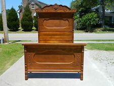 Fancy High Back Tiger Oak Bed~~FULL SIZE~~ circa 1900