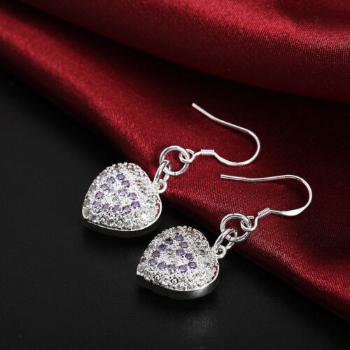 Fashion Mariage Argent 925 Pretty Heart Crystal Femmes belle boucle d/'oreille Bijoux