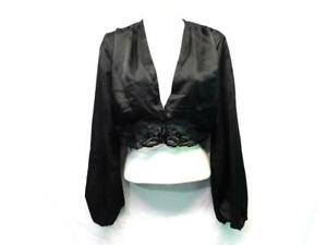 Nasty-Gal-Size-6-NWT-Black-Satin-Lace-Volume-Sleeve-Top-V-Neck-Cropped-Blouse-S