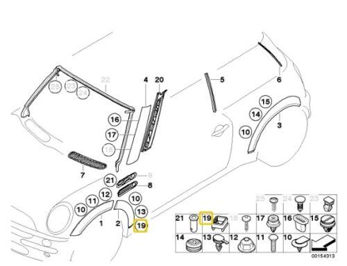 BMW MINI R50 R53 R52 Esterno tagliare clip//Grill 07137036160