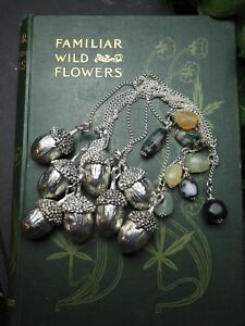 Acorn-amp-Gemstone-Pendulum-for-divination-Pagan-Wiccan-Witchcraft-Silver