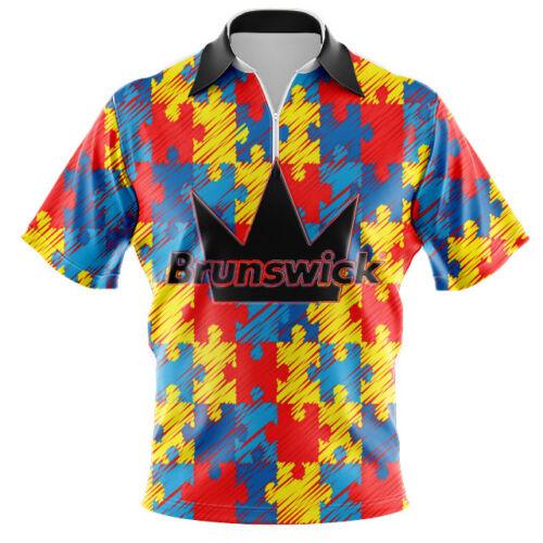Brunswick Dye Sub Mens Autism Awareness Zipper Polo CoolWick Bowling Shirt