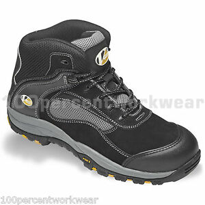 V12 Safety Footwear V1235 BOULDER Work Boots Black Leather Steel Toe Cap UK Size
