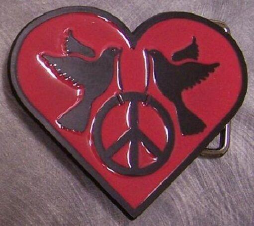 Pewter Belt Buckle novelty Peace Heart rose NEW