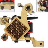 Gold Liner Tattoo Machine Shader Gun 10 Wrap Coils Needle Supply Grip Tip Bronze on Sale