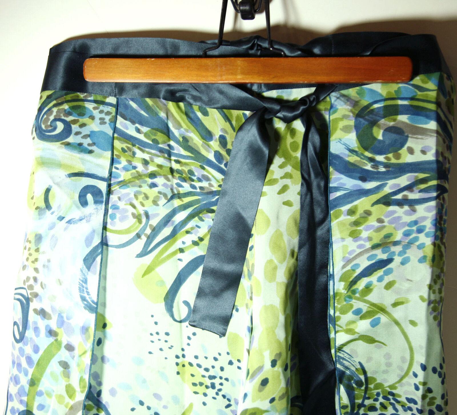 NWT Lgold Piana Womens100% Silk Green Pants Pareo sz M   FS