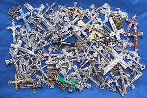 Lot-of-86-CRUCIFIXES-1-3-034-Crosses-all-different-for-Rosary-Medal-Pectoral