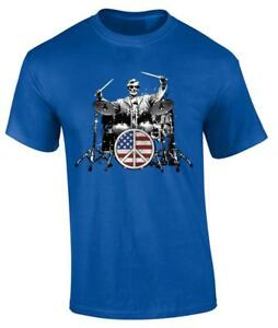 4th of July Abe Lincoln Rocks American Flag Funny Drummer T-Shirt USA