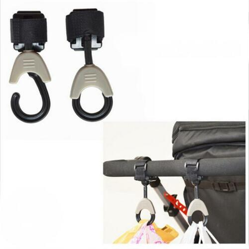 2X Universal Pram Bag 360 Swivel Hanger Hanging Baby Stroller Clip Bottle Hook S