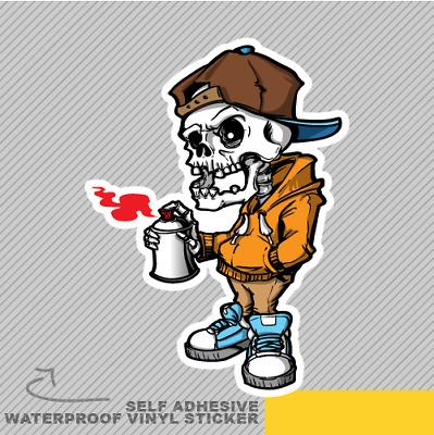 2 Spray Painting Skeleton Vinyl Stickers