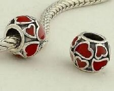 925 SILVER  BEAD CHARM WITH RED ENAMEL LOVE HEARTS VALENTINE WEDDING GIFT