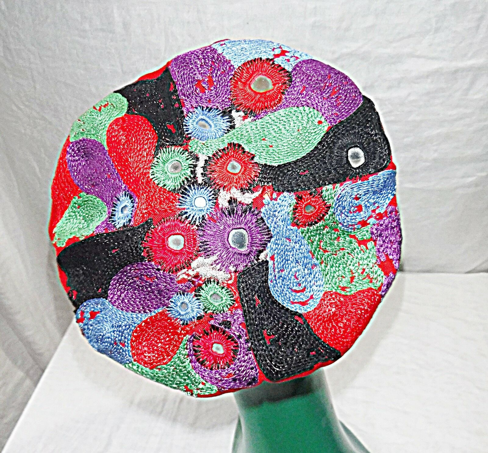*22 INCH BAND BERET PERCHER HAT ETHNIC HIPPY FESTIVAL MULTICOLOURED WITH MIRRORS