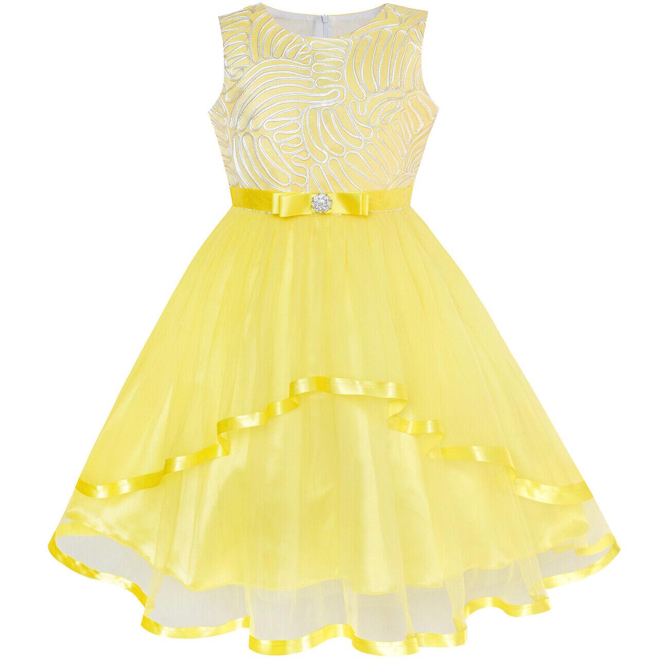 Flower Dress Yellow Belted Wedding