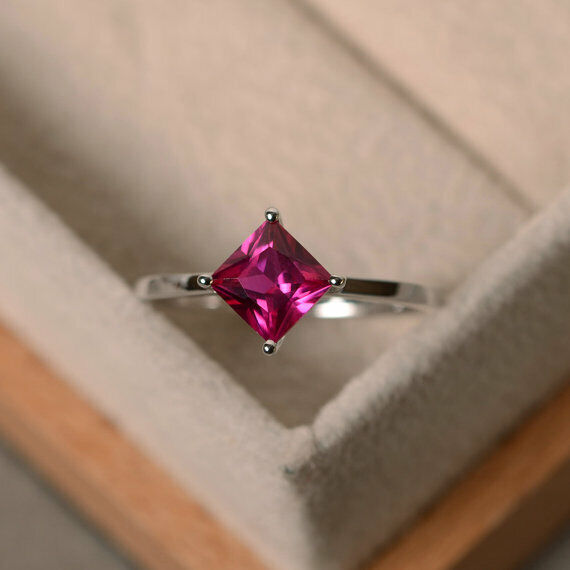 Princess 1.50 Ct Genuine Ruby Wedding Beautiful Ring 14K White gold Size 5 6