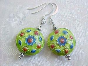 Cloisonne-Earrings-Southwest-Talavera-Tile-Lime-Green-Folk-Art-Wear-Gypsy-Boho