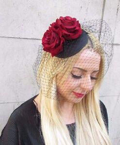 15225853b1e32 Image is loading Burgundy-Red-Black-Rose-Birdcage-Veil-Flower-Fascinator-