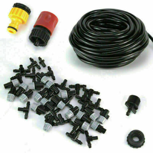 50FT Misting Cooling System Set Outdoor Irrigation Garden Water Mister Nozzles