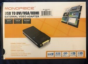 NEW-in-Box-Monoprice-USB-to-DVI-VGA-HDMI-External-Video-Adapter-MP-UGA16D1