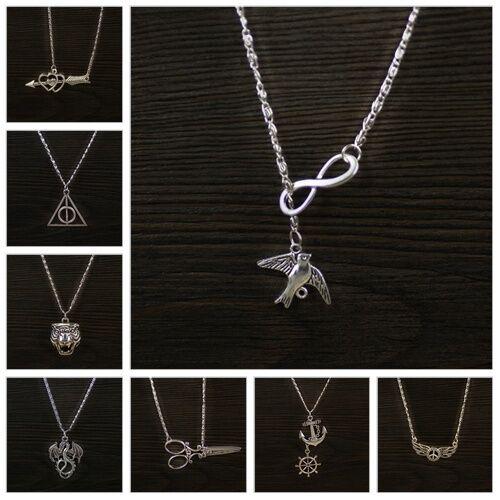 1Pcs Retro Tibetan Silver Tone Mixed Style Pattern Pendant Rhodium Necklace
