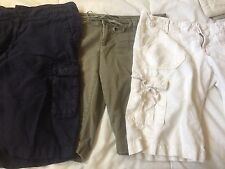 Lot 3 Women's AE American Eagle GAP Cargo Bermuda Shorts Linen - Size 6 EUC