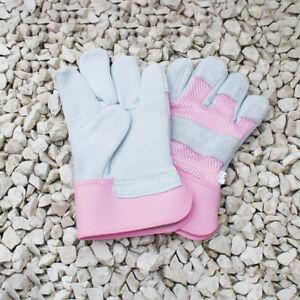 Mujer-APAREJADOR-Clasico-gruesa-Piel-Palm-RESISTENTE-rosa-Jardin