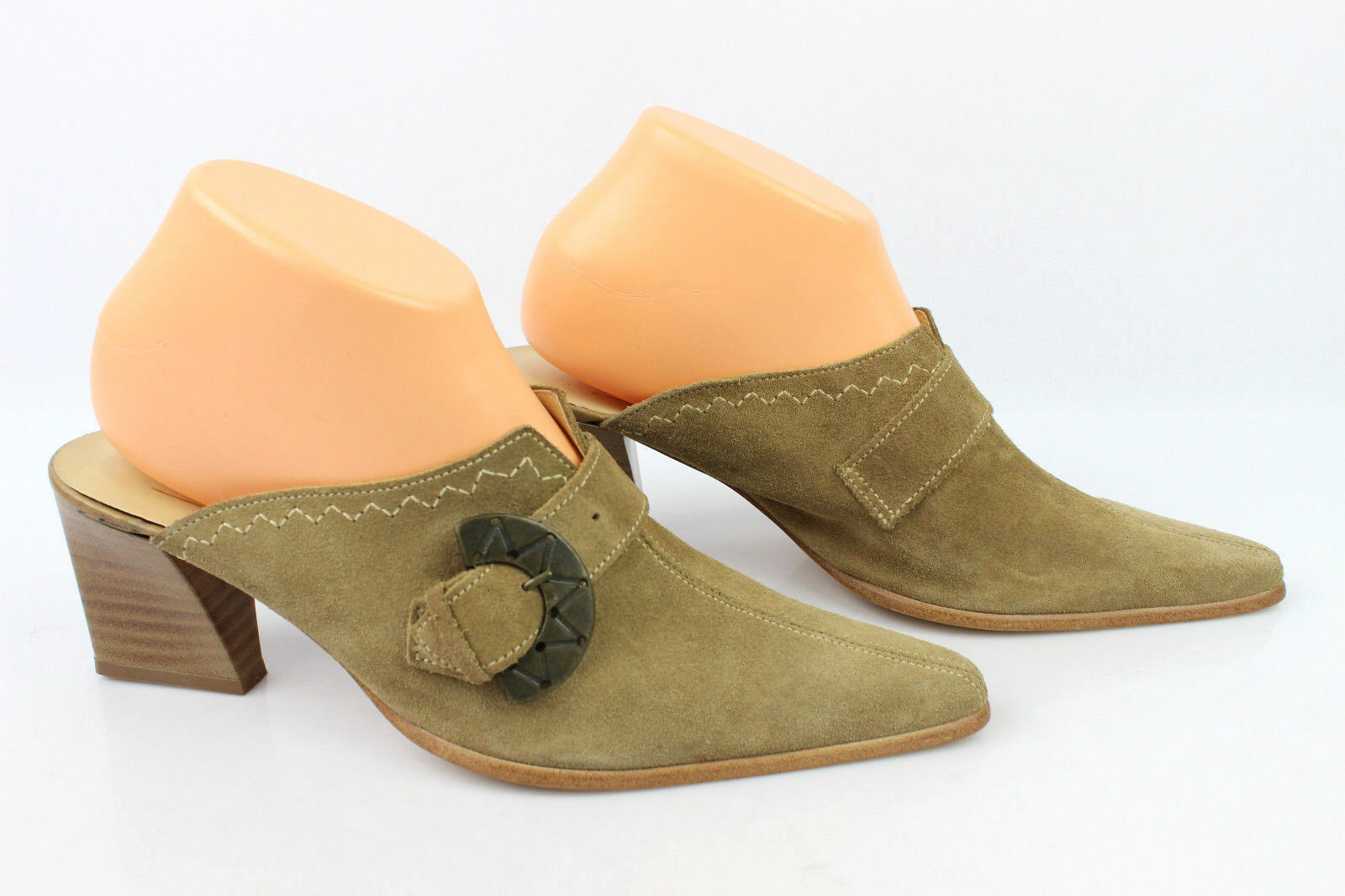 Backless shoe VERSION LATINE Made in France Suede Chamois T 39