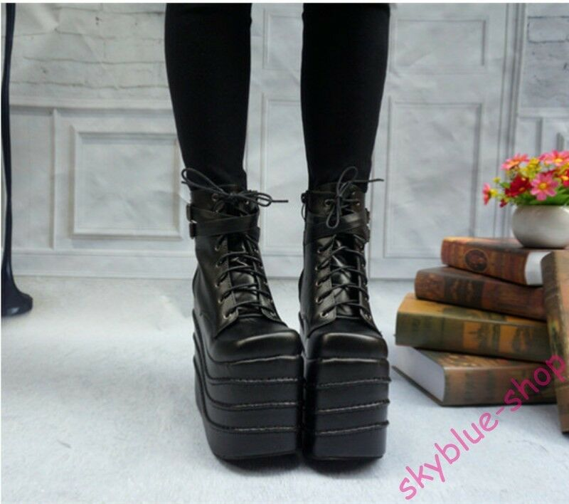 Donna High Wedge Heels Platform Lace Up Gothic Stivali Ankle Stivali Gothic Cosplay Punk Shoes 46e404