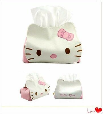 1Pc Lovely Cartoon Hello Kitty Cat Car Seat Style Tissue Box Car Accessories