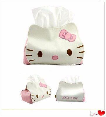 1Pc Lovely Cartoon Hello Kitty Cat Car Seat Style Tissue Box Car Accessories