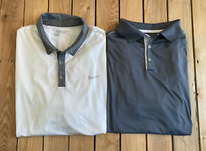 Lot-of-2-Nike-Men-s-Short-Sleeve-dri-fit-Polo-golf-shirts-Size-XXL-IN-white-grey