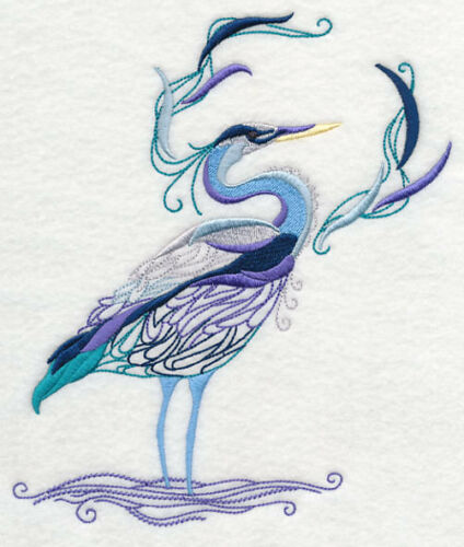 Avian Elegance Heron SET OF 2 BATH HAND TOWELS EMBROIDERED BY LAURA