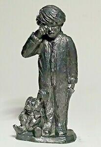1990 Vintage Michael Ricker Pewter Figurine Gift List Sleepy Christmas Child Boy