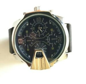 Rocawear-Men-039-s-RM3558-Oversized-Silver-Tone-Brown-Adjustable-Strap-Watch