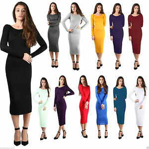 Womens-Ladies-Long-Sleeve-Jersey-Plain-Stretch-Bodycon-Maxi-Midi-Dress-Plus-Size
