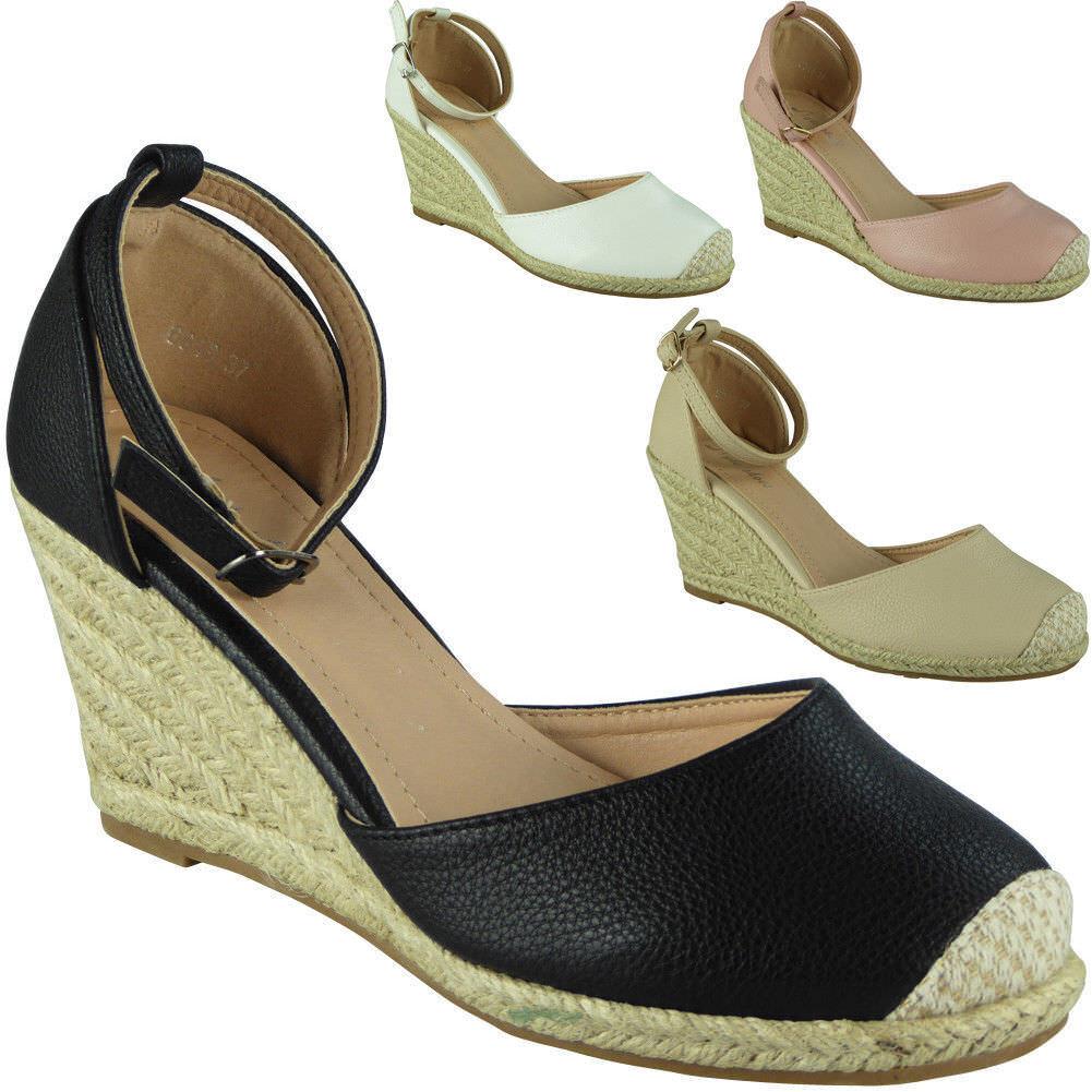 Womens Ladies Ankle Strap Espadrilles Platform Sandals Shoes Mid Heel Wedge Sandals Platform Size 29916a