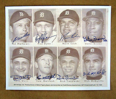 1968 World Series  Detroit Tigers Signed (Copy)  8x10 Photo # 2