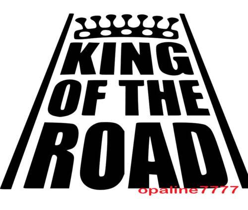 STICKER KING OF THE ROAD CASQUE  tuning auto moto velo HUMOUR JDM AUTOCOLLANT
