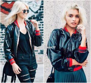 Taille finition Uk taille Black vernis M 10 Zara Bomber brillant Veste 0ZFwxqAx