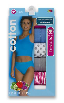 Value Packs Fruit of the loom Women/'s Tagless 100/% Cotton Hi-Cut Panties