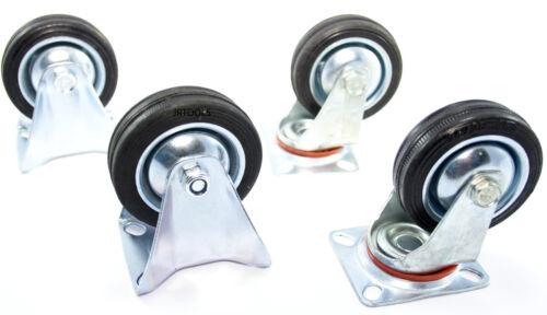 """3/"""" 75mm Rubber Swivel Castors x 2 /&  Fixed Castors x 2  TZ   RM006 RM007"""