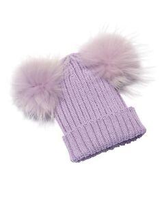 Image is loading Kids-Purple-Lilac-Fur-Double-Pom-Pom-Hat 6116e8ddd06