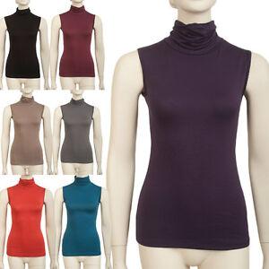 bekannte Marke bestbewertet Großhandelspreis 2019 Details zu Basic Rollkragenshirt Damen Shirt, Rolli, Rollkragen ohne  Ärmel/Arm viele Farben