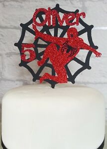 Outstanding Personalised Spider Man Birthday Cake Card Topper Black Web Red Funny Birthday Cards Online Inifodamsfinfo