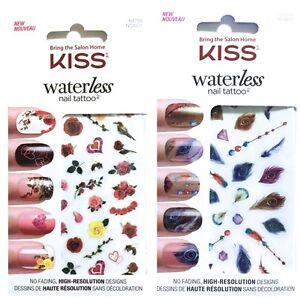 Image Is Loading Kiss Waterless Nail Tattoos Art 64705 Nsw01