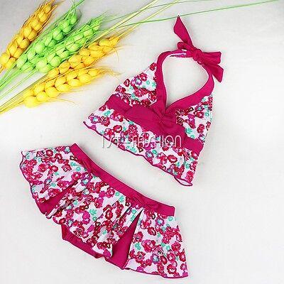 Mädchen Kinder Blumen drucken Bikini Set Badeanzug Bademode Beachwear Gr 98-128