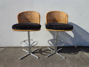 Image Is Loading 2 Bar Stools Swivel Wicker Chrome Bohemian Boho