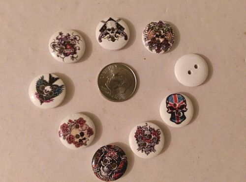 "Lot of 20 ASSORTED SKULLS 2-hole Wooden Button 5//8/"" 15mm 4514 Scrapbook Doll"