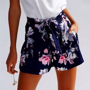 design di qualità 38929 3085a Dettagli su pantaloncini shorts donna blu fiori rosa casual sexy eleganti  vita alta estate