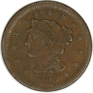 1853 1C Braided Hair Large One Cent/Penny US Coin
