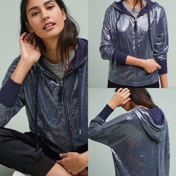 Anthropologie Postmark NWT Navy Sequin Zip Up Hooded Sweatshirt Size XL